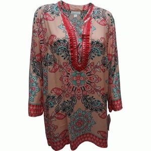 Charter Club Printed Split-Neck Tunic Top Light L